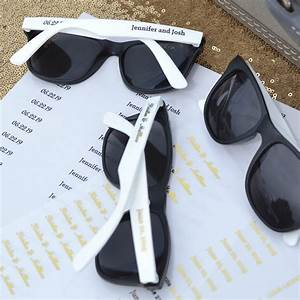 personalized white and black frame wedding sunglasses favors With sunglasses for wedding favors