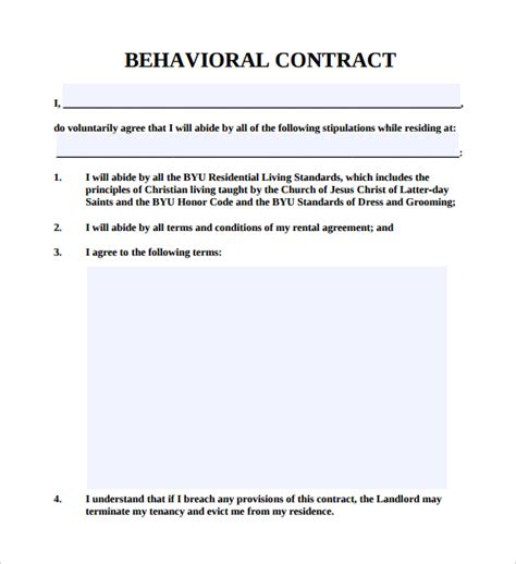 behavior contract template for adults sle behaviour contract 14 free documents in pdf word