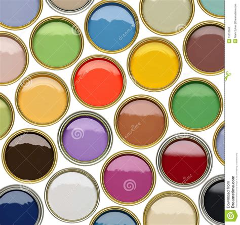 many colors selection of open paint tins with many colors stock image