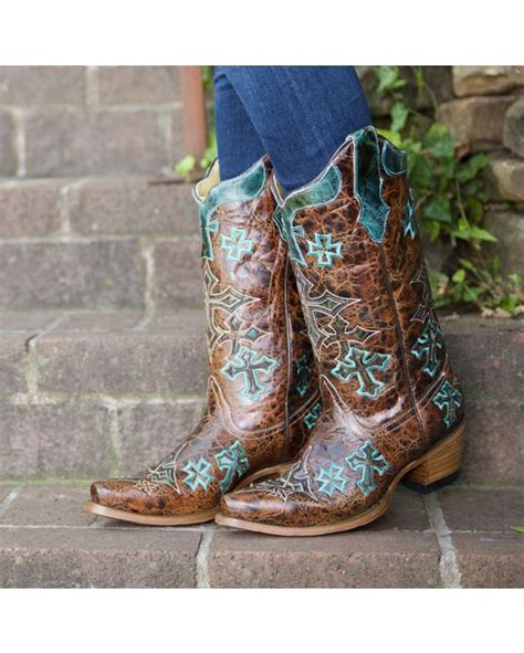 boots cowgirl brown turquoise cross corral boot western marble cowboy whiskey womens countryoutfitter teal crosses wedding shoes them
