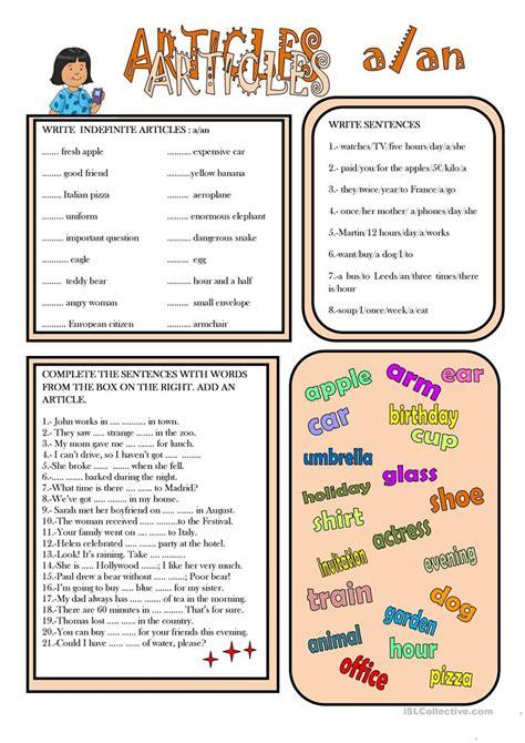 INDEFINITE ARTICLES - English ESL Worksheets for distance ...