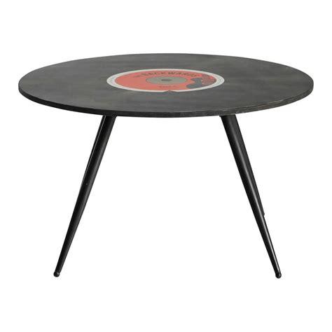 vintage round coffee table wooden vintage round coffee table in black d 70cm vinyl