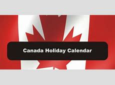 Statutory Holidays Canada 2019 National Days