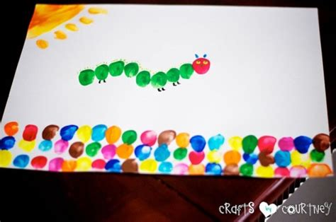 hungry caterpillar inspired fingerpaint art