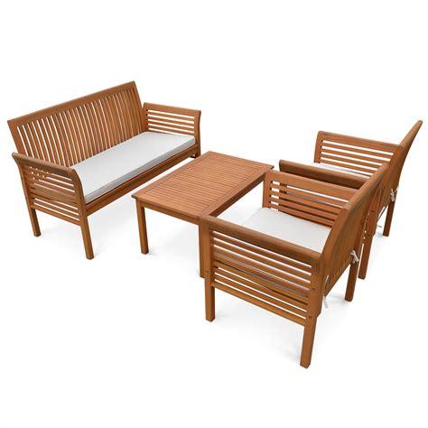 Salon de jardin bois table aluminium jardin   Maison boncolac