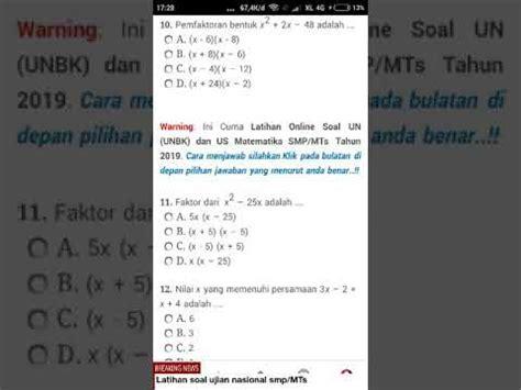 latihan soal matematika  smpmts  pelajaran