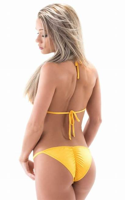 Bikini Brazilian Yellow Butt Pucker Sheer Sunset