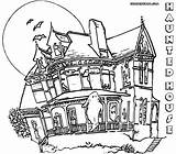 Haunted Coloring Pages Print Colorings Coloringway sketch template