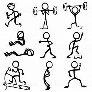 Strichm U00e4nnchen Personen Fitness Vektor Illustration
