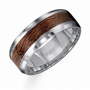 8mm Wide Tungsten Carbide Mens Wedding Band With Wood
