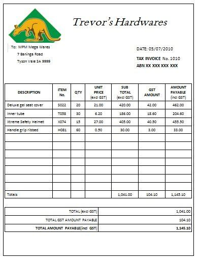australian tax invoice  invoice template sample