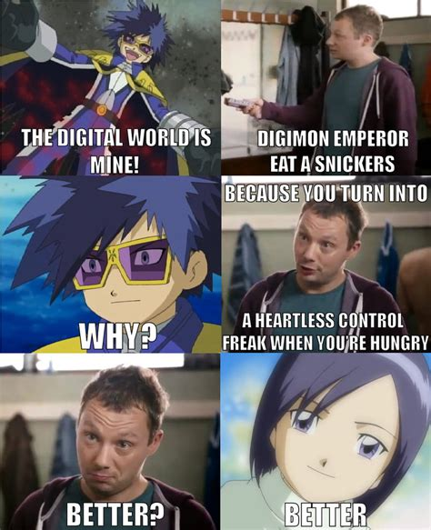 Snickers Commercial Meme - snickers meme digimon emperor by bionuva on deviantart