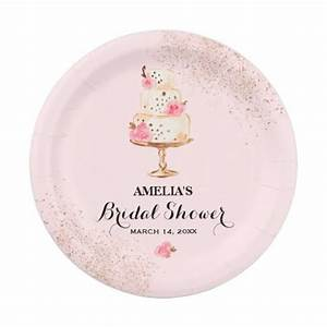 rose cake tea party bridal shower paper plates zazzle With wedding shower paper plates