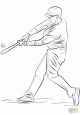 Baseball Player Coloring Pages Cubs Chicago Draw Printable Drawing Cricket Bat Hitting Ball Colouring Step Jackie Robinson Print Template Players sketch template