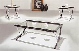 Set of glass top contemporary coffee end tables w chrome for Small glass and chrome coffee table