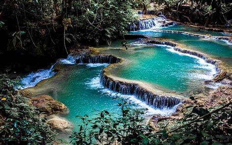 Landscape Nature Waterfall Pond Foliage Shrubs