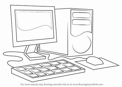 Computer Draw Drawing Step Computers Coloring Pages