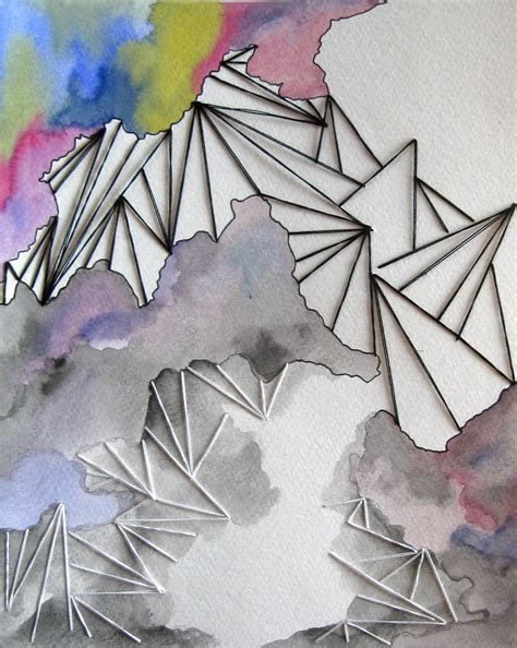 Abstract Shapes Watercolor by Stitched Fibers On Paper By Decker Fiber