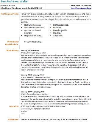 Waiter Cv Template by Index Of Wp Content Uploads 2012 05