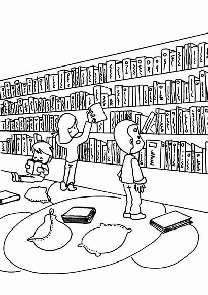 Library Coloring Pages Activity Building Template Templates