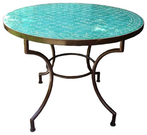 mosaic outdoor dining table moroccan mosaic table 36 quot round mediterranean outdoor