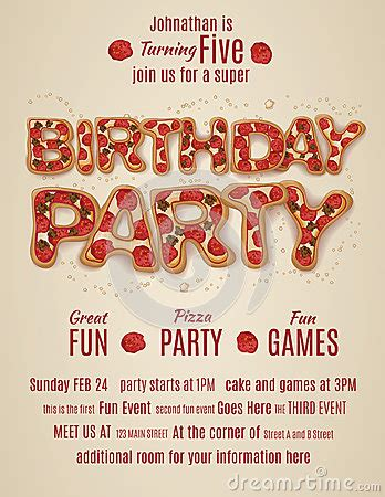 birthday party invitation template  pizza letters