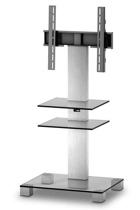support pied tv sonorous meuble tv pl2525 c inx verre et inox avec support tv shop pour hifi tv