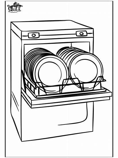Dishwasher Vaisselle Lavavajillas Lave Coloring Colorare Sketch