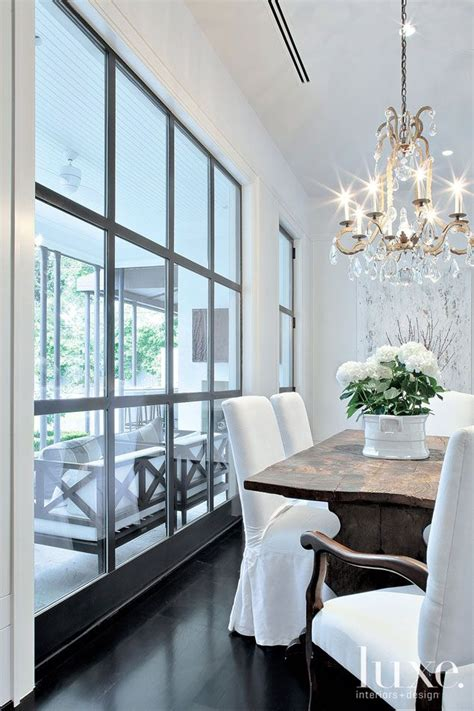 Crisp Home Design by Beautiful Dining Room White Slip Covered Chairs Rustic
