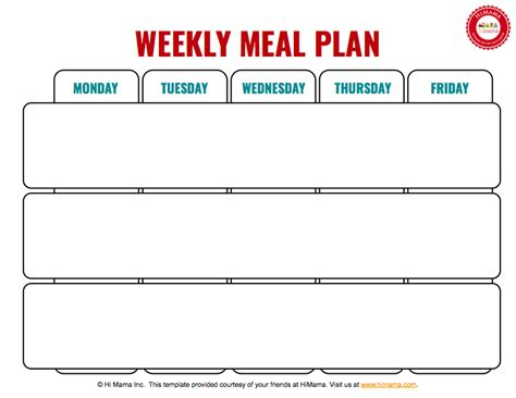 Weekly Menu Template 3 Meal Day Care Weekly Menu Template Mon Fri Day Care