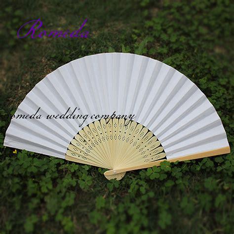paper hand fans bulk free shipping selling 50 pcs lot white folding elegant