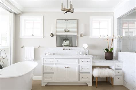 benjamin moore decorators white cabinets california beach house with crisp white coastal interiors 306 | Bathroom layout