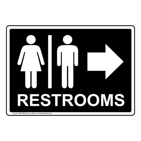Restrooms White On Black Sign Rre6982whtonblk Restrooms
