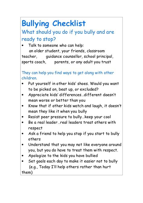 bullying checklist