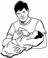 Coloring Pages Dad Baby Milking Tocolor Drawing Sketch Template Angels Anime Face Colouring sketch template