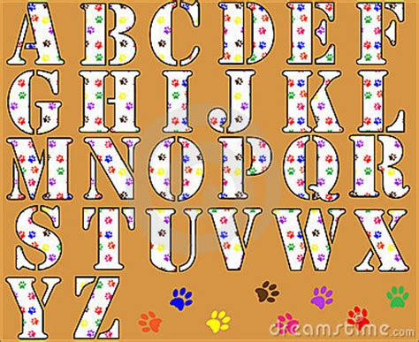 paw print alphabet letters royalty  stock images