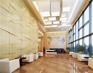 Modern office interior design for elevator lobby 3d for Office lobby interior design