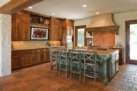 distressed turquoise kitchen cabinets   Home Decor