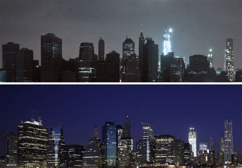 manhattan power outage pictures offer rare view  dark