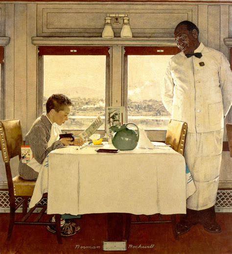 boy   dining car   norman rockwell paper print
