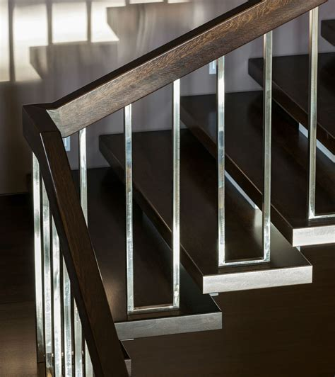 Dark Brown And Chrome Modern Stair Rails Stairs