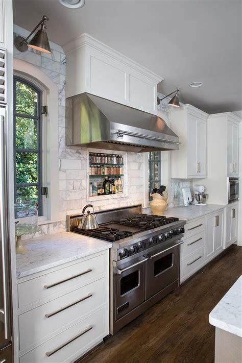 stainless steel range hood  pot rail transitional kitchen