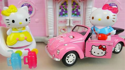 Hello kitty house and car toys with baby doll play - YouTube