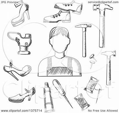 Hammer Heels Clipart Vector Shoemaker Awl Shoes