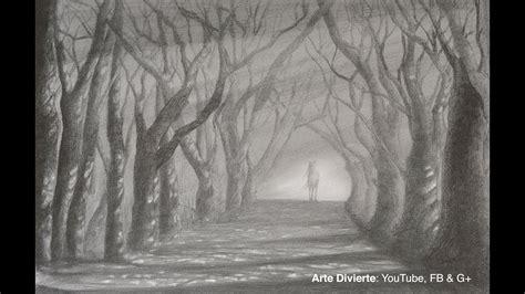 como dibujar  camino  arboles sol  sombra  lapiz