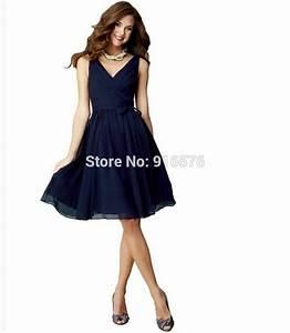 Cheap Navy Blue Beautiful Knee Length Maid Of Honor ...