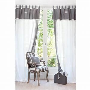 Rideau Gris Et Blanc : rideau passants en coton blanc et gris 140 x 300 cm tissu recouvrement pinterest rideaux ~ Teatrodelosmanantiales.com Idées de Décoration