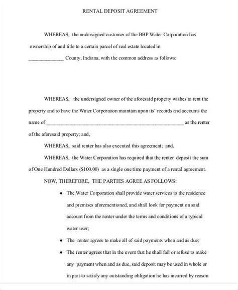 deposit agreement template   word  format