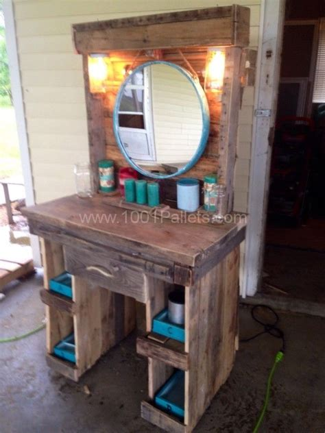 makeup vanity   reclaimed wooden pallets wood