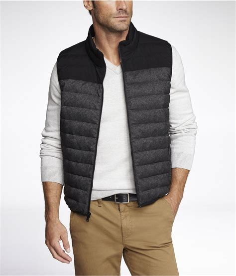 quilted vest mens lyst express quilted filled puffer vest in gray for